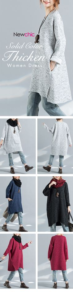 Casual Solid Color Thicken Splited Long Sleeve O-neck Women Dress
