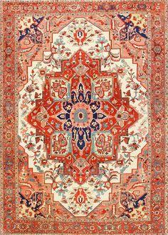 Large Antique Persian Heriz Serapi Rug 48645