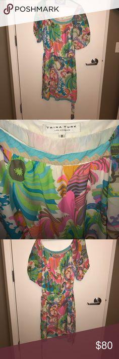 Trina turk perfect condition dress Trina Turk gorgeous multi colored tunic dress. Detachable tie Trina Turk Dresses