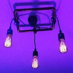 home made LED #filamentlamp copper frame pendants