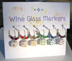 Wine Glass & Stemware Markers Bunko or Bunco Dice Themed  Set of 6. $22.00, via Etsy.