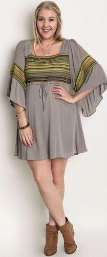534ce9e382e Umgee Plus Size Tribal Baby Doll Dress   Kimono Sleeve   Western Green  WA1688
