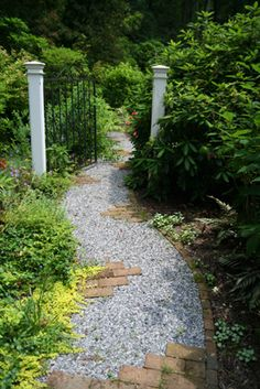 brick and gravel path Brick Path, Stone Path, Outdoor Walkway, Gravel Pathway, Gravel Garden, Concrete Walkway, Walkway Ideas, Brick Garden, Landscape Design