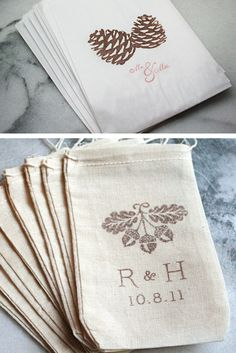 Paper and muslin printed favor bags from Clementine Weddings. #favorholders