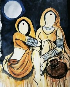 Buy Saheli 2 artwork number a famous painting by an Indian Artist Mrinal Dutt. Indian Art Ideas offer contemporary and modern art at reasonable price. Indian Art Paintings, Modern Art Paintings, Dance Paintings, Oil Paintings, Composition Painting, Texture Painting, Rajasthani Painting, Indian Folk Art, Indian Artist