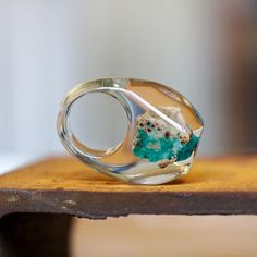 Clear Resin Ring with Emerald Stone Resin Ring Resin