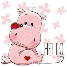 Baby Hippo, Cute Hippo, Baby Animals, Cute Animals, Kids Cartoon Characters, Cartoon Kids, Cute Cartoon, Environmental Crafts, Hippo Drawing