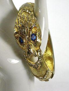 Vintage Giorgio Rhinestone Lion Clamper Bracelet  The Vintage Jewelry Boutique  #Rubylane