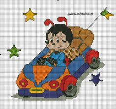 Lady bug in Car x-stitch