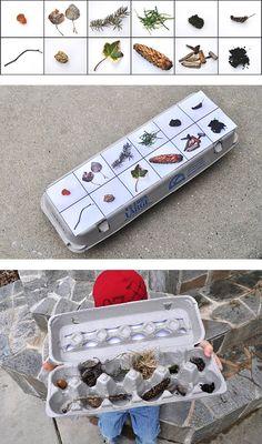 Natural treasure hunt with egg carton / caccia al tesoro naturale col cartone delle uova
