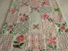 Rose Garden  Vintage Chenille Baby Quilt  Custom by SURELYCHENILLE