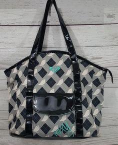 Roxy gray black argyle plaid birds large tote shopper handbag bag purse  Surfer ef6dc86e09da7