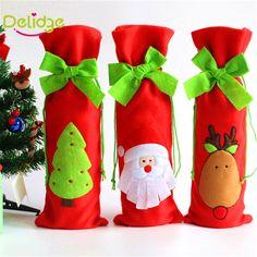 Barato 1 pcs Garrafa de Vinho Bag Dinner Party Decoração de Natal Arco Nó…