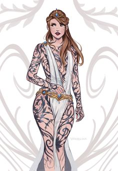 """By faebelina:""""Feyre's dress in ACOTAR."""""""