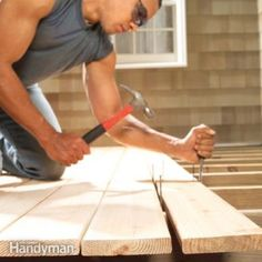 Building a deck? Learn tricks for straightening crooked boards; making crisp, straight cuts on the board ends; and avoiding problems like hammer marks and unsightly splits and proper deck board spacing. Under Deck Roofing, Under Deck Drainage System, Under Deck Ceiling, Gazebo, Second Story Deck, Deck Building Plans, How To Build Steps, Deck Posts, Under Decks