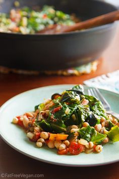 A new gluten-free grain I'd never heard of - Swiss Chard with White Beans and Job's Tears #gluten-free