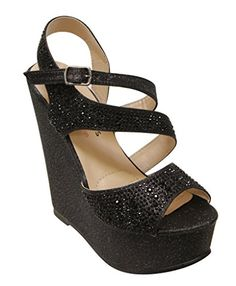 I HEART COLLECTION Litzy02 womens Bling Beads Glitter Strappy Buckle Platform Wedge Sandals Black 9 *** Be sure to check out this awesome product.