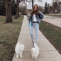 Image may contain: 1 person, dog, tree, outdoor and nature Outfits For Teens, Girl Outfits, Cute Outfits, Dog Walking Rates, Sisters Goals, Winter Wear, Orlando, Mom Jeans, Dogs