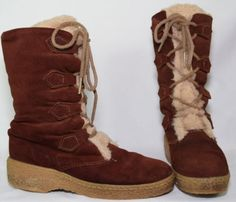 Vintage-Womens-Mukluks-8-Boots-Brown-Suede-Leather-Faux-Fur-Lined-Lace-USA-Made