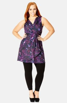 City Chic 'Midnight Hummingbird' Faux Wrap Tunic (Plus Size) available at #Nordstrom