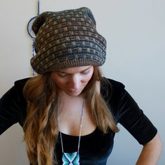slouchy beanie hat upcycled jumper
