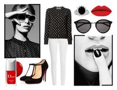 """Black and White"" by adsouza614 ❤ liked on Polyvore featuring Paige Denim, Play Comme des Garçons, NARS Cosmetics, Christian Dior, Yves Saint Laurent, Christian Louboutin, women's clothing, women, female and woman"