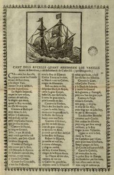 Cant dels aucells quant arribaren los vaxells devant de Barcelona, y del desembarch de Carlos III...