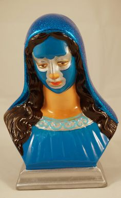 Hand Painted Virgin Mary Blue Demon Bust Lucha Libre by mdinovo, $80.00