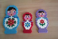 3 Russian dolls a Hama pattern, made with Hama beads.