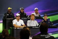 Press conference: Felipe Nasr, Sauber, Sergio Perez, Sahara Force India F1, Esteban Gutierrez, Haas F1 Team, Jenson Button, McLaren, Nico Rosberg, Mercedes AMG F1 Team and Daniil Kvyat, Red Bull Racing
