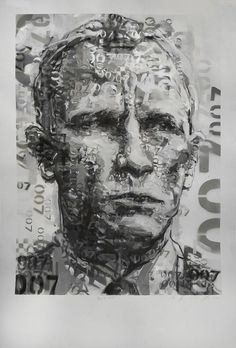 Claude Chandler | Bond - 007 (2020), stamp painting, contemporary portraiture available for sale | StateoftheART Daily Painting, Artist Studio, Mixed Media Painting, Portraiture, Painting, Claude, Art, Street Art, South African Artists