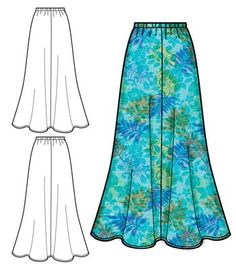 "4 panel skirt, 4.5"" above ankle"