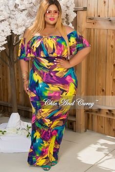 New Plus Size Off The Shoulder Ruffle Sleeve Gown in Purple, Green & Blue