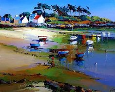 The Colourful Congregation (Eric Le Pape). Great Paintings, Art Works, Landscape Paintings, Oil Painting Abstract, Watercolor Landscape, Mediterranean Paintings, Beach Art, Seascape Paintings, Landscape Art