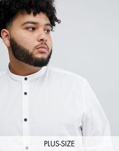Buy ASOS DESIGN Plus slim shirt with grandad collar & contrast buttons at ASOS. Get the latest trends with ASOS now. Baby Wedding Outfit, Asos, Chef Jackets, Latest Trends, Contrast, Slim, Mens Tops, Buttons, Image