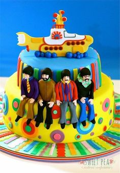 The Beatles birthday cake Beatles Party, Beatles Cake, Bolo Dos Beatles, The Beatles, Yellow Submarine Cake, Music Themed Cakes, Novelty Cakes, Cakes For Boys, Fancy Cakes