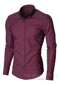 Карирана мъжка риза 100% Памук (MOD1458LS) червено/тъмносиньо