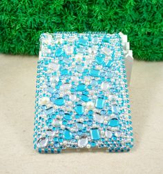 Full Bling Crystal Rhinestone Hard Back Case for Apple iPad Mini Blue P186   eBay