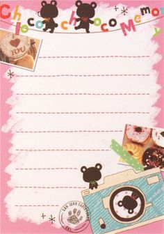 mini memo pad with photoalbum and bears from Japan kawaii Sakura Painting, Kawaii Stationery, Stationery Paper, Japan Sakura, Kawaii Doodles, Note Paper, Paper Decorations, Scrapbook Paper, Bears