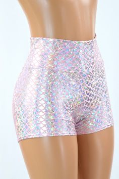 High Waist Baby Pink & Silver Dragon Scale Holographic Mermaid Shorts  151495