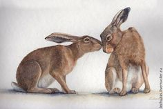 Hares. Relations history. Traditional art ( watercolor). Prof. paper: Canson. Svetlana Markina (LechuzaS) ( scene based on photo). Size: 30cm*21cm