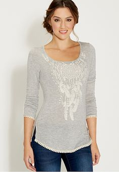 tee with dreamcatcher graphic and crocheted hems (original price, $29) available at #Maurices