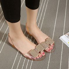 e34efd4c5e73a3 Summer Flat with Fish Mouth Crystal Jelly Shoes PVC Beach Sandals Plastic  Slides