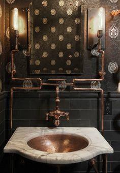 vintage industrial bathroom design 13