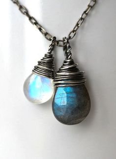 Dark Side of the Moon - Labradorite and Moonstone Wire Wrapped Sterling Silver Necklace (I love both Labradorite and Moonstone~!)