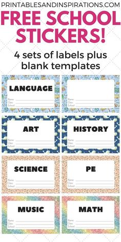 subjects Labels diy - Free Cute Label Stickers For School With Blank Templates - Printables and Inspirations Printable Name Tags, Free Printable Stickers, Printable Labels, Label Stickers, Free Printables, Name Tag For School, School Name Labels, Free Label Templates, Labels Free