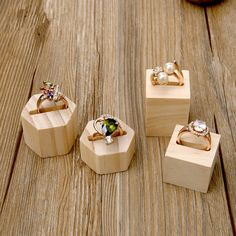 Lot of 2 Square or Hexagonal Wood Ring Display Holder Ring Display Stand Wood Je. - Lot of 2 Square or Hexagonal Wood Ring Display Holder Ring Display Stand Wood Jewelry Holder - Diy Jewellery Display Stand, Wood Jewelry Display, Jewelry Stand, Jewelry Holder, Jewelry Shop, Ring Holders, Diy Jewelry, Silver Jewelry, Silver Ring