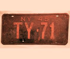 Antique New York NY License Plate 1945 4 letters by DSalCodaDesign