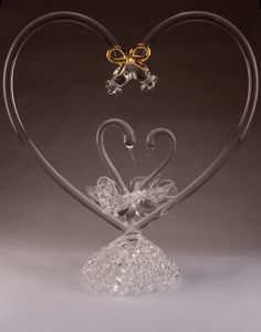 Loving Swans Glass Wedding Cake Topper By EagleGlassCompany 6200