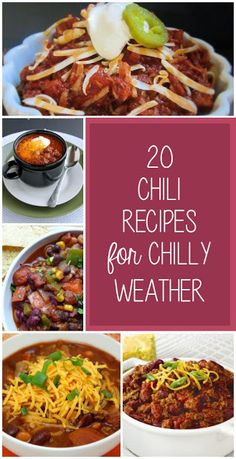 Ooo. I could make several of these recipes and never get enough chili!!! 20 #Chili Recipes for Chilly Weather from It's Always Reutten #recipe